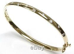 0.35 ctw Real Diamond Solid 14k Yellow Gold Bezel Set Oval Bangle Bracelet 6.5