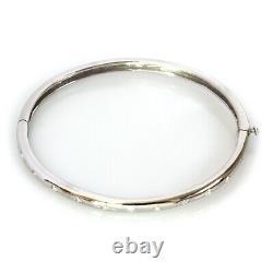 0.45 ctw Natural Diamond Solid 14k White Gold Flush Set Oval Bangle Bracelet 7