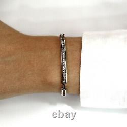0.5 ctw Natural Diamond Solid 14k White Gold Channel Set Link Bracelet 4.5 MM