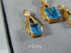 10k Yellow Gold Blue Topaz 18 inch Necklace + Earrings Set with Box Slot G-69-Y