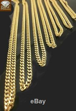 10k Yellow Gold Miami Cuban Chain Necklace & Bracelet SET BOX Clasp SOLID (REAL)