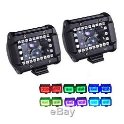 126W 20 inch Offroad Led light bar + 2pcs 4 Spot Fog Pods with RGB Halo Chasing