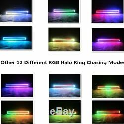 13. 5 LED Light Bar + 2x 5 Flush Mount Pods with Chasing RGB Halo Remote Control