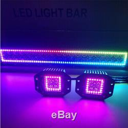 13.5 LED Light Bar + 2x 5 Flush Mount Pods with RGB Halo Color Change Chasing
