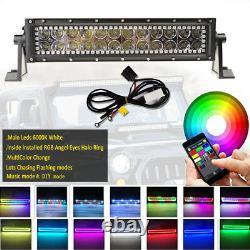 13.5 LED Work Light Bar Spot Flood Bluetooth RGB Halo Chasing Kit Fit For Jeep