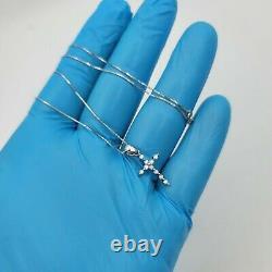 14k Solid White Gold Diamond Cross Pendant Box Chain set 1mm 18'' inches 2 grams