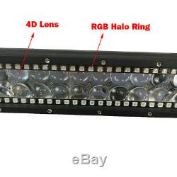 20 inch 126W Led Light Bar Combo with RGB Halo Multi Color & Free Wiring Harness