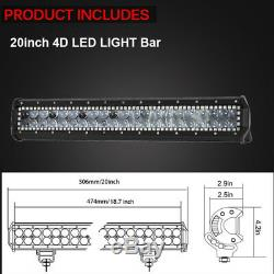 20 inch LED LIGHT BAR COMBO Offroad with Chasing RGB Halo & Wiring Harness