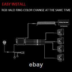 22 120W RGB Halo Offroad Led Light Bar + 4x Flush Mount 3 RGB Halo Cube Pods