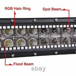 22 INCH LED Light Bar + 2x 4 Pods with RGB Halo Ring Wireless Bluetooth Control