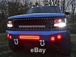 22 LED Light Bar Combo + 2x 3 Pods with RGB Halo Ring Fit For Jeep Truck ATV SUV