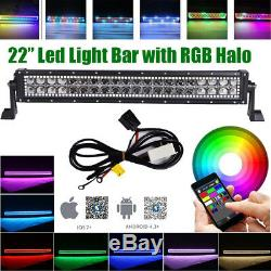 22inch Offroad Led Light Bar Spot Flood with Chasing RGB Halo Ring Multi-Color