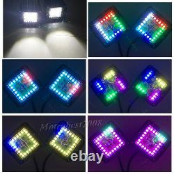 2x 3 inch 24W Led Work Light 3x3 Pods RGB Halo Chasing Music Wireless Bluetooth