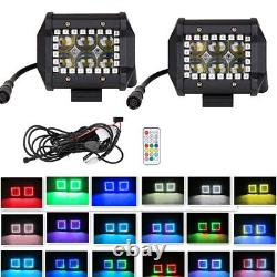 2x 4Inch 4D Led Work Light Bar Fog Lamp with Chasing RGB Halo Ring & Wiring Kit
