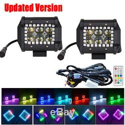 2x 4 30W LED Work Light Spot Fog Pods RGB Halo Color Change Chasing & Wiring