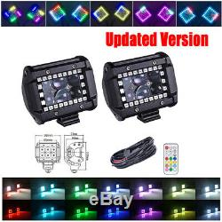 2x 4 INCH 30W LED Work Light Spot Pods with RGB Halo Ring Chasing Kit For SUV ATV