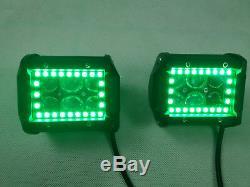 2x 4 INCH RGB Chasing Halo Led Work Light Fog Spot Headlight + Wiring Harness