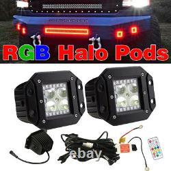 2x 5Inch Flush Mount LED Work Light Flood Beam Reverse Lamp RGB Halo Chasing Kit