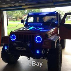 32 LED Light Bar + 2x 3 Cube Pods with RGB Halo Color Change Chansing Bluetooth
