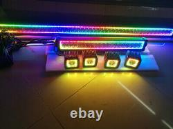 32 inch + 22 Led Light Bar + 4x 3 Pods with Chasing RGB Halo Rings Bluetooth APP