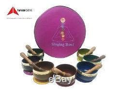 3 Inch Color Chakra Healing Tibetan Singing Bowls set of 7 with Including box