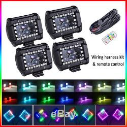 4pcs 4 inch Led Work Light Spot Pods RGB Chasing Halo Remote Kit For Truck ATV