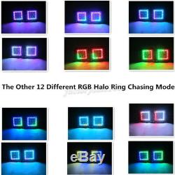 4x 24W Led Work Light Bar 3x3 Cube Pods Flood Chasing RGB Halo Ring Bluetooth
