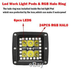 4x 3 24W LED Work Light Cube Pods with RGB Angel eyes Halo Chasing Bluetooth