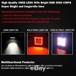 4x 3 Led Work Light Flood Fog Pods Bluetooth RGB Halo Ring Chasing & Wiring Kit