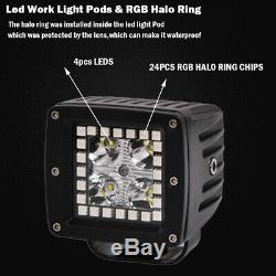 4x 3 inch 24W LED Work Light Spot Pods with RGB Angel Eyes Halo Color Change Kit