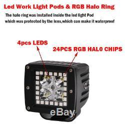 4x 3 inch 24W Led Work Light 3x3 Pods RGB Halo Ring Chasing Kit SUV Truck 4X4