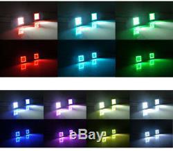 4x 3inch 4D LED Work Light Bar Cube Pods Flood RGB Angel Eyes Halo Ring & Wiring
