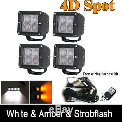 4x 4D 3inch LED Work Light Cube Pods Kit White/Amber/Strobe Dual Color RF Remote