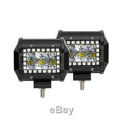 4x 4 Inch 4D LED Work Light Spot Fog Pods RGB Halo Ring Chasing +Control Wiring