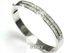 5.2 ctw Natural Diamond Solid 14k White Gold Channel Set Oval Bangle Bracelet 7