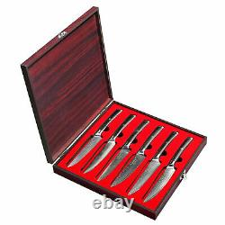 6PCS 5 Inch Steak Knives Set Damascus Steel Japanese Chef Steak Knife With Box