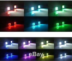 6pcs RGB Halo Pods Strobe Bluetooth 3 24W Work Light Bar Spot Lamp Jeep Trucks