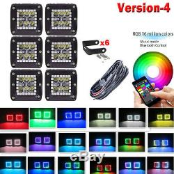 6x 3inch 24W Led Work Light Cube Pods Bluetooth RGB Halo Ring Chasing + Wiring