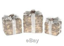 8/10/12-Inch Micro LED Lighted Gift Box in Brown (Set of 3)