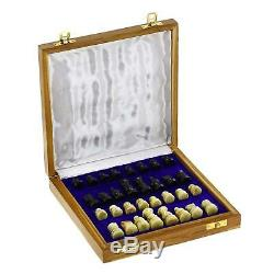 8 Inch Handmade Stone Chess With Wooden Storage Box Outdoor Game Home Decor Gift
