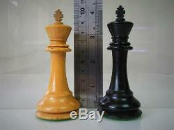 ANTIQUE CHESS SET CLUB WEIGHTED AYRES K 4 inches AND ORIGINAL BOX NO BOARD