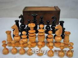 ANTIQUE FRENCH REGENCE CHESS SET K 3.5 inches PLUS ORG BOX NO BOARD