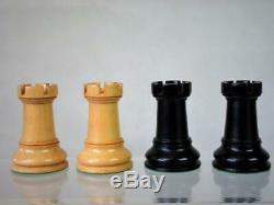 ANTIQUE JAQUES CHESS SET LOADED STAUNTON K 3.5 inch AND ORIG BOX