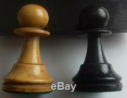 Antique Chess Set Staunton 3.75 Inch King 2.125 Pawn Boxwood And Box 1870 1880