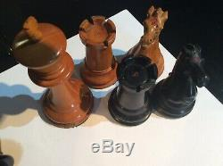 Antique Chess Set, vey rare mid 19 C Jaques Club Size 4.25 Inch Kings In Box