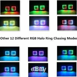 Bluetooth RGB Chasing Halo 20 INCH Led Light Bar + 2x 4 Fog Pods & Wiring