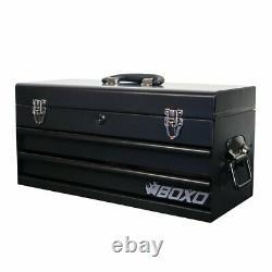 Boxo 113 Piece Metric Tool Set With Hand Carry 2 Drawer Metal Tool Box Black