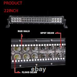 Chasing RGB Halo 22 inch Off road LED Light Bar + 3 Pods For Truck ATV 4X4 SUV