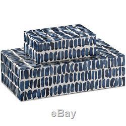 Currey & Company 1200-0199 Indigo 11 inch Navy/White/Natural Box Set, Set of 2