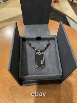 David Yurman Titanium Onyx Tag + DY 26 Inch 4mm Box Chain Full Set /Gift Ready